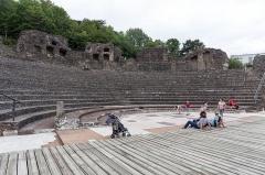 Site archéologique de Fourvière -  Odéon antique dans le 5e arrondissement de Lyon: vue d'ensemble depuis l'orchestra.