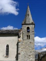 Eglise - English: Sight of Notre-Dame de l'Assomption church bell tower, in Bonneval-sur-Arc, Savoie, France.