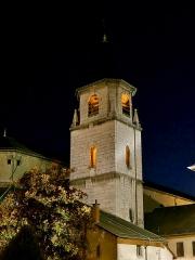 Cathédrale Saint-François de Sales - English: Sight, by night, of Saint-François-de-Sales cathedral bell tower, in Chambéry, Savoie, France.