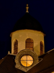 Eglise Notre-Dame - English: Sight, by night, of the roof lantern and a dormer on the roof of Notre-Dame de Chambéry church, in Chambéry, Savoie, France.