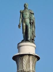Fontaine des Eléphants - English: Sight of the Benoît de Boigne statue, at the top of the fontaine des Éléphants fountain, after its restoration, in Chambéry, Savoie, France.