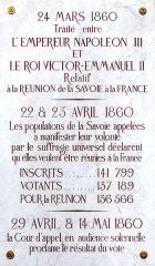 Palais de Justice - English: Foundation stone in the Salle des audiences solennelles room of the Chambéry courthouse (Savoie, France), where results of the votation about annexing Savoie by France were made official, in 1860.