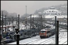 Remise ferroviaire dite rotonde SNCF - Français:   Rotonde du dépôt de locomotives construite pour la Compagnie des chemins de fer du Chemins de fer de Paris à Lyon et à la Méditerranée, de 1908 à 1910, pour faire face au trafic grandissant autour de Chambéry.