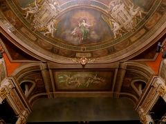 Théâtre municipal - English: Sight of parts of the painted ceiling over the curtain of the Chambéry theater, in Savoie, France.