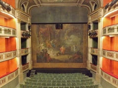 Théâtre municipal - English: Inside sight of the théâtre Charles Dullin theater, with the rideau d'Orphée curtain, in Chambéry, Savoie, France.