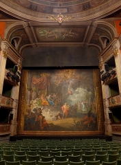 Théâtre municipal - English: Sight of the great room of the Chambéry theater with the rideau d'Orphée curtain, in Savoie, France.