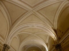 Abbaye de Hautecombe - English: Sight of the painted ceiling over the Escalier du Roi ('King staircase') leading to the royal apartments of Hautecombe abbey, in Savoie, France.