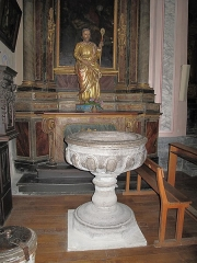 Eglise de Conflans - English: Baptismal fonts of the church of Saint-Grat in Conflans (Savoie), France.