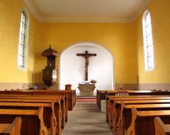 Eglise protestante -  Alsace, Bas-Rhin, Schiltigheim, Église protestante (PA00125226, IA67018001): Vue intérieure de la nef vers le chœur, Chaire à prêcher (1764).