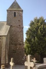Eglise de Saint-Symphorien-les-Buttes - Français:   Le clocher de l\'église de Saint-Symphorien-les-Buttes, commune associé à fr:Saint-Amand (Manche)