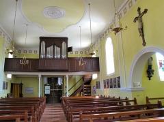 Eglise catholique Sainte-Odile - Français:   Alsace, Haut-Rhin, Église Sainte-Odile de Wintzfelden (PA00135161, IA68004402): Vue intérieure de la nef vers la tribune d\'orgue.