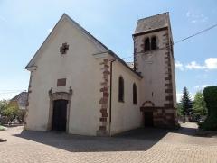 Eglise catholique Sainte-Odile - Français:   Alsace, Haut-Rhin, Église Sainte-Odile de Wintzfelden (PA00135161, IA68004402): Clocher roman (XIIe) et nef (XVIIIe-XIXe).