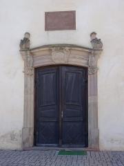 Eglise catholique Sainte-Odile - Français:   Alsace, Haut-Rhin, Église Sainte-Odile de Wintzfelden (PA00135161, IA68004402): Portail principal baroque (1778).