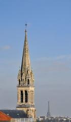 Eglise du Centre ou Saint-Clodoald - English:   The belfry of the church Saint-Clodoald in Saint-Cloud, Hauts-de-Seine department, France.