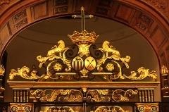 Hôtel Dieu - Français:   Les armes de la famille Stoppa et de Blanche de Navarre dans la chapelle de l\'Hotel-Dieu de Château-Thierry