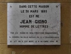Maison de Jean Giono, dénommée Le Paraïs - English: Jean Giono's house in Manosque (Commemorative tablet)