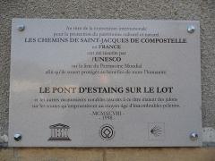 Pont dit d'Estaing (également sur commune de Sébrazac) - Català: Placa identificadora del pont d'Estanh sobre l'Òlt