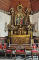 Château de Bougy - English: High altar/retable of the Notre-Dame church of Auquainville (Calvados, Lower Normandy, France). This church is listed as a historical monument.