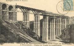 Viaduc de Toupin -  Carte postale ancienne éditée par E. Hamonic à Saint-Brieuc, collection Bretagne, n°1418: Chemins de fer départementaux des Côtes-du-Nord - Ligne de St-Brieuc à Moncontour - Viaduc de Toupin en construction