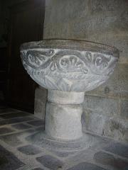 Ancienne huilerie du village d'Arcy - Église Saint-Sylvain d'Ahun (Creuse, France), bénitier du narthex