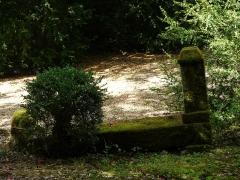 Château des Evêques et ancien cimetière - Pierre tombale dans le vieux cimetière de Plazac, Dordogne, France.