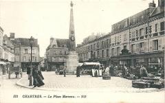 Monument à Marceau dit «Colonne Marceau» - Français:   Carte postale de Chartres (Eure-et-Loir, France), vers 1910