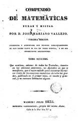 Chapelle de la Trinité - Español: Compendio de matemáticas puras y mistas - Tercera ed. - Tomo segundo. Editor: Garrasayaza, 1835