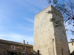 Tour de guet de Tresques -  Tresques watchtower, in the heart of a village in Gard in France. Unique but magnificent remaining building of a 12th century castle.