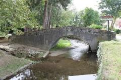 Pont du Riat - Français:   Pont enjambant la Rigole de la Plaine, avec son abreuvoir et son lavoir