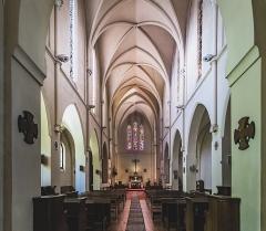 Couvent Sainte-Catherine de Sienne - English:  Church Notre-Dame-des-Sept-Douleurs et de Sainte-Catherine-de-Sienne Blagnac - View of the nave Architect: Henry Bach (1815-1899)</dd>