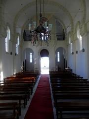 Chapelle Sainte-Marie-du-Cap - Français:   Chapelle Sainte-Marie-du-Cap, chapelle de la Villa Algérienne à Lège-Cap-Ferret (33). Intérieur. Vue vers l\'entrée.