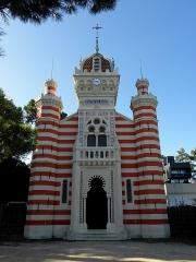 Chapelle Sainte-Marie-du-Cap - Chapelle Sainte-Marie-du-Cap, chapelle de la Villa Algérienne à Lège-Cap-Ferret (33). Façade principale (à l'est).