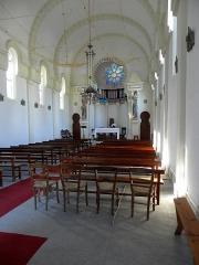 Chapelle Sainte-Marie-du-Cap - Français:   Chapelle Sainte-Marie-du-Cap, chapelle de la Villa Algérienne à Lège-Cap-Ferret (33). Intérieur. Vue vers le chœur.