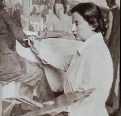 Château de la Sécardais - English: Lotte Laserstein painting her large work