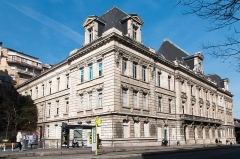 Bourse du Travail - This building is inscrit au titre des monuments historiques de la France. It is indexed in the base Mérimée, a database of architectural heritage maintained by the French Ministry of Culture,under the reference PA42000013 .
