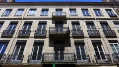 Immeuble - Français:   Vue de la façade de l\'immeuble de négociants datant du 19ème siècle et situé 11 rue de la république à Saint Etienne, chef-lieu du département de la Loire