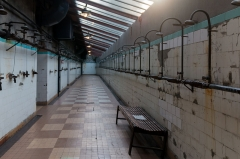 "Site minier dit "" Puits Couriot "" - English:  Showers gallery in use at the end of the operation."