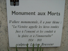 Monuments aux morts dit Monument de la Victoire - Français:   Monument aux Morts de Tourcoing plaque