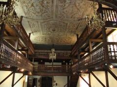 Eglise Saint-Sébastien - English: Jatxou (Pyr-Atl. Fr) plafond et tribunes de l'église