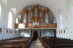 Eglise catholique Saint-Jean-Baptiste - Alsace, Bas-Rhin, Église Saint-Jean-Baptiste de Saessolsheim (PA67000005, IA67009190).  Vue intérieure de la nef vers la tribune d'orgue.