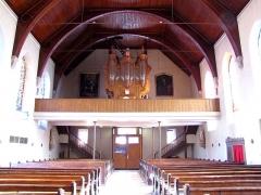 Eglise catholique Saint-Maurice -  Alsace, Bas-Rhin, Soultz-les-Bains, Église Saint-Maurice (PA67000007, IA67006055): Vue intérieure de la nef vers la tribune d'orgue.