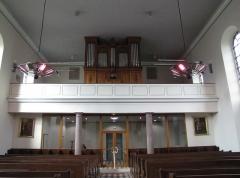 Eglise simultanée Saint-Etienne -  Alsace, Bas-Rhin, Wangen, Église simultanée Saint-Etienne (PA67000035, IA67006252): Vue intérieure vers la tribune d'orgue.