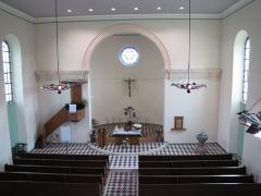 Eglise simultanée Saint-Etienne -  Alsace, Bas-Rhin, Wangen, Église simultanée Saint-Etienne (PA67000035, IA67006252): Vue intérieure vers le chœur.