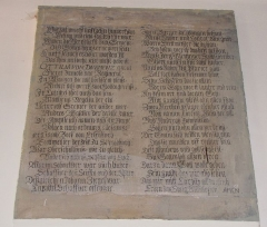 Eglise simultanée Saint-Etienne -  Alsace, Bas-Rhin, Wangen, Église simultanée Saint-Etienne (PA67000035, IA67006252): Inscriptions en allemand