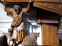 Eglise catholique Sainte-Thérèse-de-l'Enfant-Jésus - Alsace, Bas-Rhin, Église abbatiale Saint-Maurice d'Ebersmunster (PA00084701, IA00124485).  Chaire baroque (1693): statue de Samson.       This object is classé Monument Historique in the base Palissy, database of the French furniture patrimony of the French ministry of culture,under the referencesPM67000054 and IM67007545. brezhoneg| català| Deutsch| English| español| français| italiano| magyar| македонски| Plattdüütsch| português| suomi| +/−