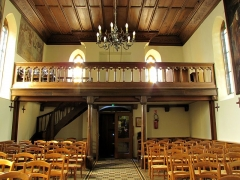 Chapelle Notre-Dame du Grasweg - Français:   Alsace, Bas-Rhin, Chapelle Notre-Dame-du-Grasweg de Huttenheim (PA67000055, IA00023590). Vue intérieure vers la tribune.