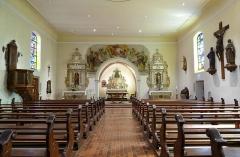 Eglise catholique Saint-Nicolas -  Alsace, Bas-Rhin, Neuve-Église, Église Saint-Nicolas (PA67000057, IA67009451): Vue intérieure de la nef vers le chœur.