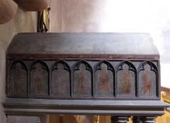 Château de Landsberg - Alsace, Bas-Rhin, Église Saint-Trophime d'Eschau (PA00084707, IA00023089).  Châsse de Ste Sophie (XIVe): St Oswald, St Jean-Baptiste, Ste Catherine d'Alexandrie, Expulsion des marchands du Temple, Adoration des Mages, mise au Tombeau, Ste Sophie et ses trois filles.       This object is classé Monument Historique in the base Palissy, database of the French furniture patrimony of the French ministry of culture,under the referencesPM67000076 and IM67000135. brezhoneg| català| Deutsch| English| español| français| italiano| magyar| македонски| Plattdüütsch| português| suomi| +/−