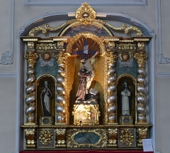 Maison dite Stern - Alsace, Bas-Rhin, Église Saint-Maurice de Fegersheim (PA00132525, IA00023146).  Retable du Christ déposé de la Croix par St-François, Ste-Thérèse d'Avila, Ste-Catherine de Sienne (XVIIe):       This object is classé Monument Historique in the base Palissy, database of the French furniture patrimony of the French ministry of culture, under the references PM67000080 and IM67000153. brezhoneg | català | Deutsch | English | español | français | italiano | magyar | македонски | Plattdüütsch | português | suomi | +/−