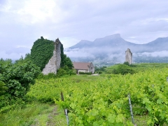 Site archéologique de Chignin - English: Sight, in a rainy morning, of two towers of Chignin, in Savoie, France.